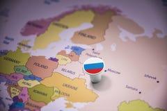 Rússia identificou por meio de uma bandeira no mapa imagens de stock royalty free