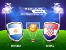 Rússia 2018, liga do campeonato do futebol, harmonia entre Argentina ilustração do vetor