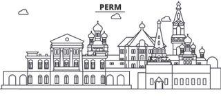 Rússia, linha ilustração da arquitetura do permanente da skyline Arquitetura da cidade linear com marcos famosos, vistas do vetor ilustração stock