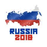 Rússia 2018, mapa do russo e bandeira acenada, campeonato do mundo 2018 do futebol Ilustração do vetor ilustração stock