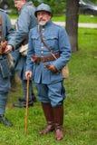 RÚSSIA, MOSCOU - 9 DE JUNHO DE 2017: Soldados 106 do regimento França da primeira guerra mundial Tempos históricos do festival de imagens de stock royalty free