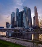 RÚSSIA, MOSCOU - 2 de maio de 2018: Paisagem urbana moderna da cidade de Moscou Rússia Fotos de Stock Royalty Free