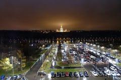 Rússia Moscou em setembro de 2017 Universidade de estado de Moscovo na noite Fotografia de Stock Royalty Free