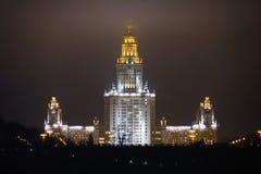 Rússia Moscou em setembro de 2017 Universidade de estado de Moscovo na noite Imagens de Stock