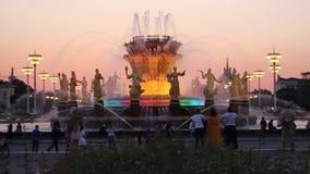 Rússia, Moscou, fonte da amizade dos povos, VDNH video estoque