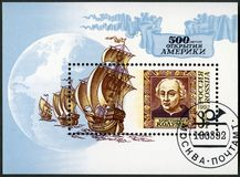RÚSSIA - 1992: mostra a Christopher Columbus 1450-1506, descoberta de América, 500th aniversário fotos de stock