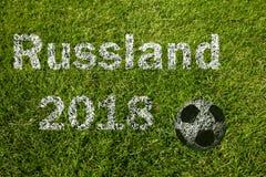 Rússia no alemão no prado do futebol foto de stock