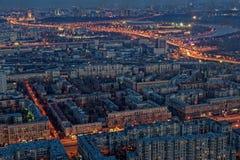 Rússia Panorama da cidade de Moscou, vista da noite de cima de Foto de Stock Royalty Free