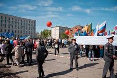 RÚSSIA, PENZA - MAIO 1: Demonstração do dia de maio Fotos de Stock Royalty Free