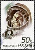 RÚSSIA - 2011: primeiro homem no espaço, Yuri Alekseyevich Gagarin 1934-1968 das mostras Imagem de Stock Royalty Free