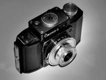 Rússia samara 30 de abril de 2017 A empresa velha da câmera do filme da mudança em uma imagem retro Imagem de Stock