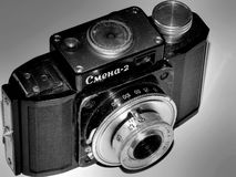 Rússia samara 30 de abril de 2017 A empresa velha da câmera do filme da mudança em uma imagem retro Fotos de Stock Royalty Free