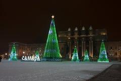 RÚSSIA, SAMARA, o 20 de janeiro de 2019, árvore de Natal no quadrado nomeado após Kuibyshev no Samara foto de stock royalty free