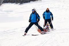 Rússia, Sheregesh 2018 11 17 as salvas-vidas em esquis levam o esquiador que deixou de funcionar da árvore, com pé enfaixado queb fotos de stock royalty free