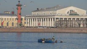Rússia, St Petersburg, pode 6, 2019 - vídeo editorial, nas redes dos caçadores furtivos do rio de Neva que pescam cedo na manhã video estoque