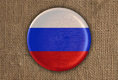 Rússia Textured em volta da madeira da bandeira no pano áspero Imagem de Stock