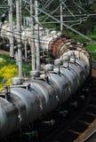 Rússia. Trem do caminhão de tanque do petróleo Foto de Stock