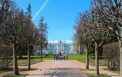 Rússia, Tsarskoye Selo O parque e a Catherine Palace de Catherine Fotos de Stock