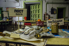 Rússia, Voronezh - CERCA de 2017: Abrigo de bomba subterrâneo abandonado fotografia de stock royalty free