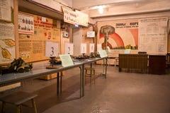 Rússia, Voronezh - CERCA de 2014: Abrigo de bomba subterrâneo de funcionamento Fotografia de Stock Royalty Free