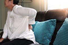 Rückenschmerzen der alten Frau zu Hause, Gesundheitsproblemkonzept stockfotos