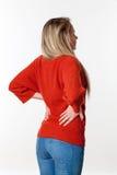 Rückenschmerzen, Lumbago, Skoliosegesundheitsprobleme für junge Frau Lizenzfreies Stockbild