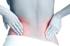 Rückenschmerzen. Schwarzweiss, einfarbig Stockbild