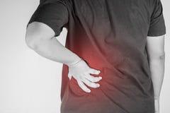 Rückenschmerzverletzung in den Menschen Rückenschmerzschmerz, Gelenkschmerzenleute medizinisch, Monotonhöhepunkt an den Rückensch Stockbilder