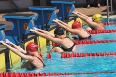 Rückenschwimmenanfang Stockfotografie