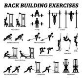 Rückgebäudeübungen und Muskelgebäudestockzahl Piktogramme stockfotos