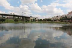 Rückhaltebecken von Modiin, Israel stockbilder