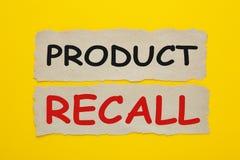 Rückruf- eines fehlerhaften Produkteskonzept stockfotografie