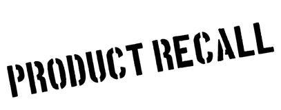 Rückruf- eines fehlerhaften Produktesschwarzstempel auf Weiß stockfotos