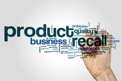 Rückruf- eines fehlerhaften Produkteswortwolke stockfotos