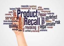 Rückruf- eines fehlerhaften Produkteswortwolke und -hand mit Markierungskonzept lizenzfreie stockfotos