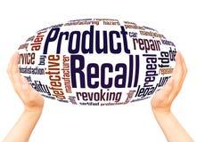Rückruf- eines fehlerhaften Produkteswortwolkenhandbereichkonzept lizenzfreie stockfotos