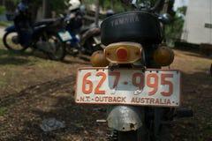 Rückseite circa mittleren von 1960 klassisch und von Weinlese Yamaha-Motorrad stockbild