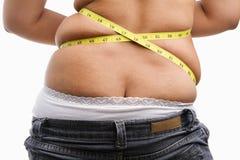 Rückseite der fetten Frau Stockbilder