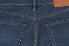 Rückseite des blauen Baumwollstoffs der Nahaufnahme Lizenzfreie Stockbilder