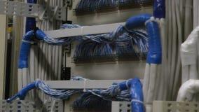 Rückseite von Rechenzentrum-Servern mit weißem Kabel stock video footage