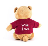 Rückseiten-Abnutzung des TEDDYBÄREN rotes Hemd der braunen Farbmit Liebe auf Whit Lizenzfreie Stockfotografie