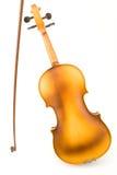 Rückseitenkarosserie der alten Violine mit Bogen Lizenzfreie Stockbilder