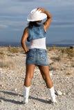 Rückseitige Ansicht des reizvollen Cowgirls. Stockfotos