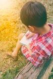 Rückseitige Ansicht Jungenschreiben auf Buch getrennte alte Bücher Abbildung der roten Lilie Lizenzfreie Stockfotografie