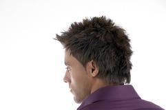 Rückseitige Haltung des Gesichtes des Mannes Stockbild