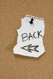 Rückseitige Meldung auf Pinboard Lizenzfreies Stockfoto