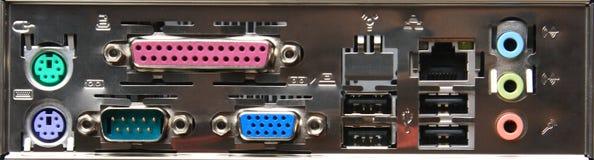 Rückseitiges Anschlusspanel des Computers Lizenzfreie Stockfotografie