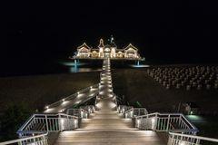 Rügen Ostseebad Sellin Pier at night royalty free stock images