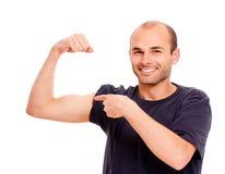 Rühmender zweiköpfiger Muskel stockfoto