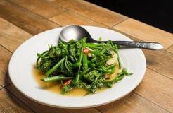 Rühren Sie Fried Water Spinach oder Vietnamese gebratene Winde, rau muong xao toi auf weißem Teller auf hölzerner Tabelle stockfotografie